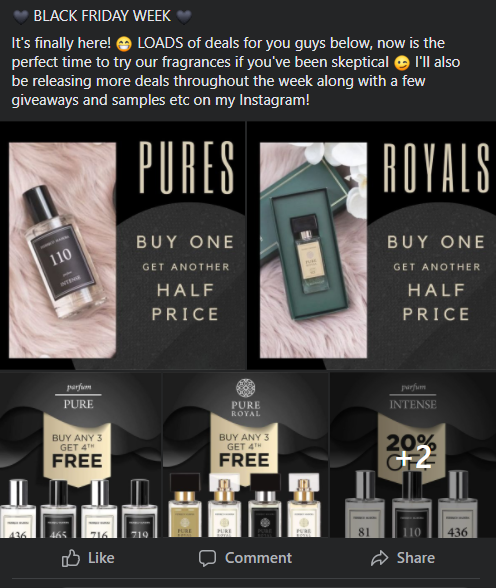 An MLM promotion post. It reads - Black friday week. It's finally her! Loads of deals for you guys below, now is the perfect time to try our fragrances if you've been skeptical. I'll also be released more deals throughout the week along with a few giveaways and samples etc on my instagram.