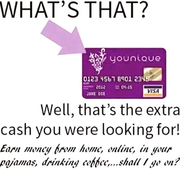 An image showing an advertisement for Younique, which shows off their purple card.