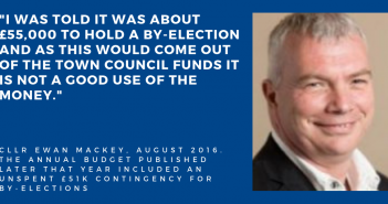 I was told it was about £55,000 to hold a by-election and as this would come out of the town council funds it is not a good use of the money""