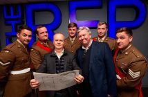 Ian Hislop and Nick Newman with members of the Mercian Regiment