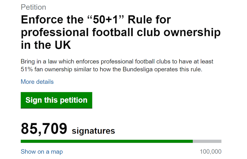 Image showing the petition for 50 plus 1 football ownership in England