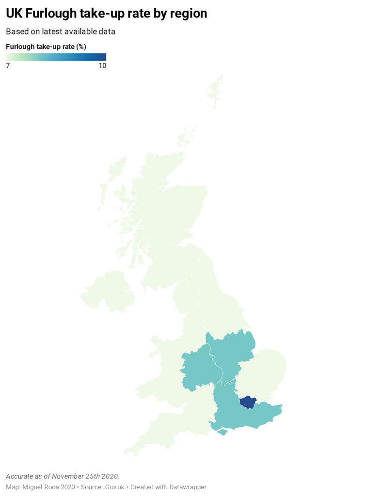 Map showing furlough take up rate across the UK. Highlighting Midlands and London.