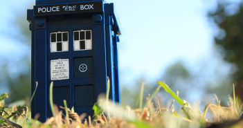 A shot of a model of a TARDIS, for Dr. Who, the birthday's theme