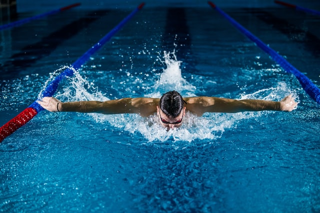 Swimmer in a swimming pool.