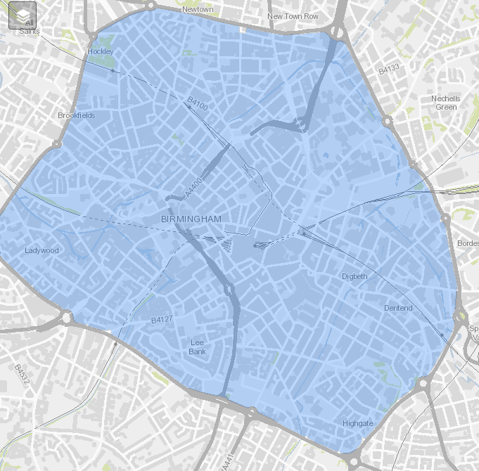 A map of the Clean Air Zone in Birmingham.
