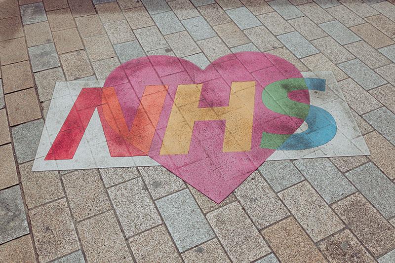 NHS written in a heart