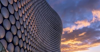 Birmingham's Selfridges building at sunset.