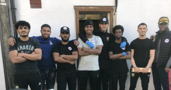 Yasser (first on the left) with his team.