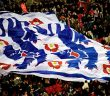 A flag of the England badge. Picture: Charanjit Chana